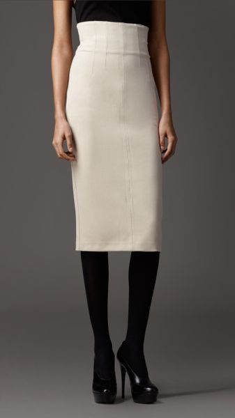 burberry fitted pencil skirt in white trench lyst