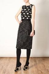 Giambattista Valli Macramé Lace and Boucle Wool Pencil Dress in Black (black white) - Lyst
