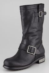Jimmy Choo Crystaldetailed Biker Boot - Lyst