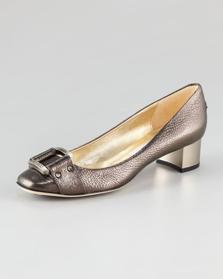 Jimmy Choo Moore Metallic Lowheel Pump in Silver (gunmetal)