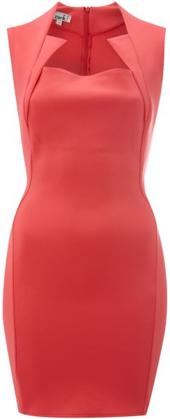 John Zack Sleeveless Cut Away Scuba Shift Dress in Red (coral) - Lyst