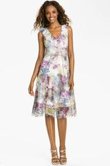 Komarov Print Ruffle Chiffon Dress in Purple (feather garden) - Lyst