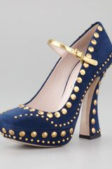 Miu Miu Studded Suede Mary Jane Pump - Lyst