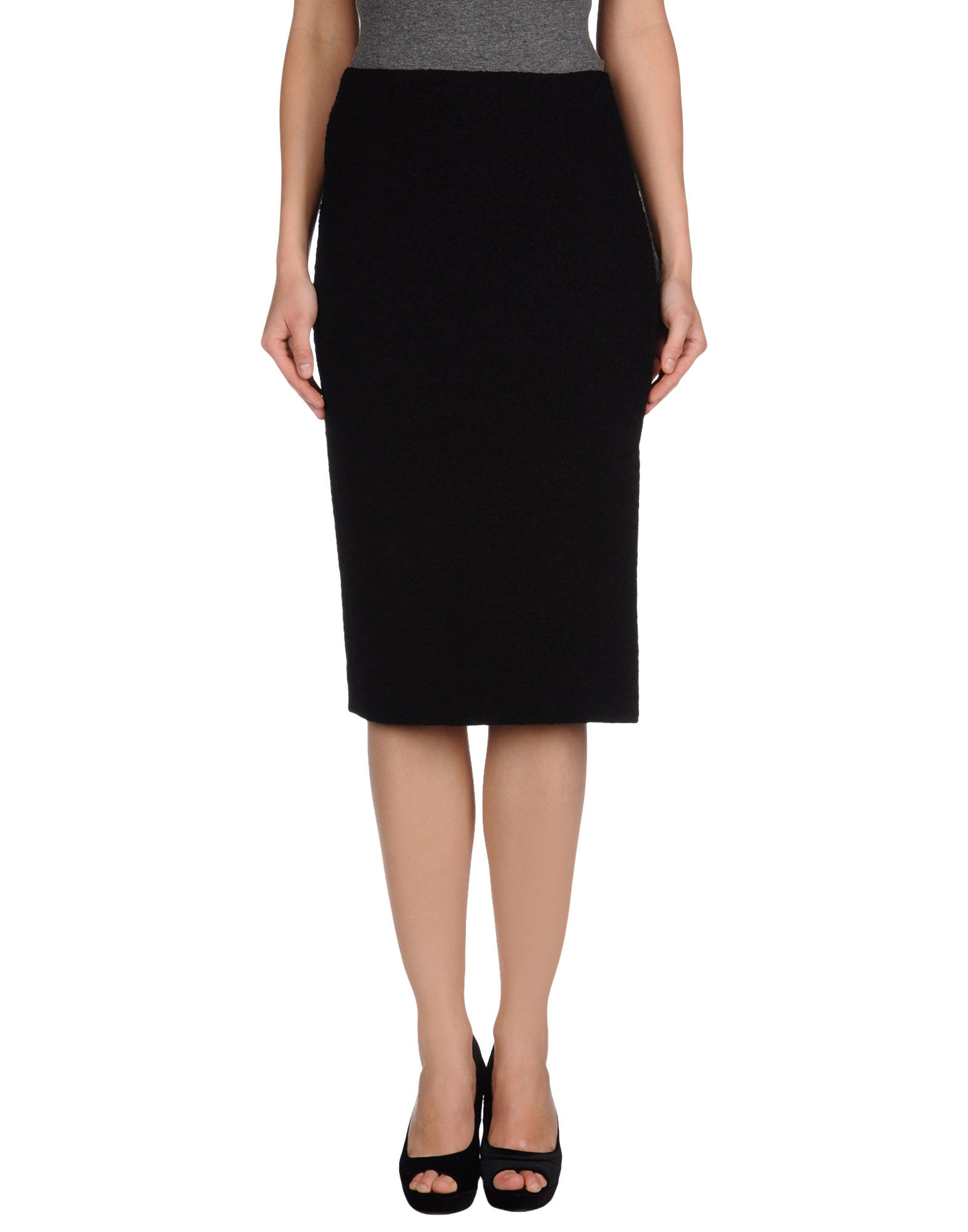 moschino cheap chic knee length skirt in black lyst