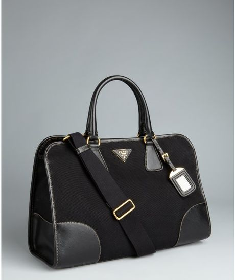 Prada Black Canvas Convertible Tote Bag in Black - Lyst
