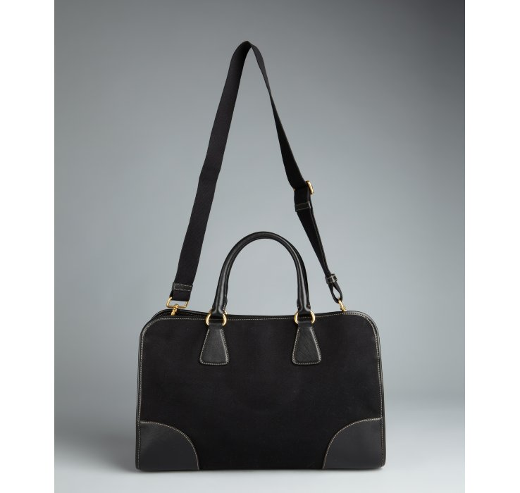 Prada Black Canvas Convertible Tote Bag in Black | Lyst