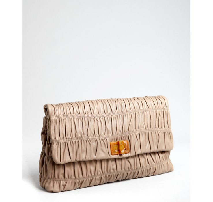 Prada Taupe Gaufre Leather Large Foldover Clutch in Beige (taupe ...