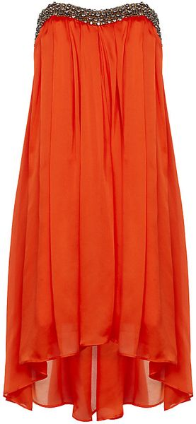 Ted Baker Embellished Drop Hem Dress in Orange - Lyst