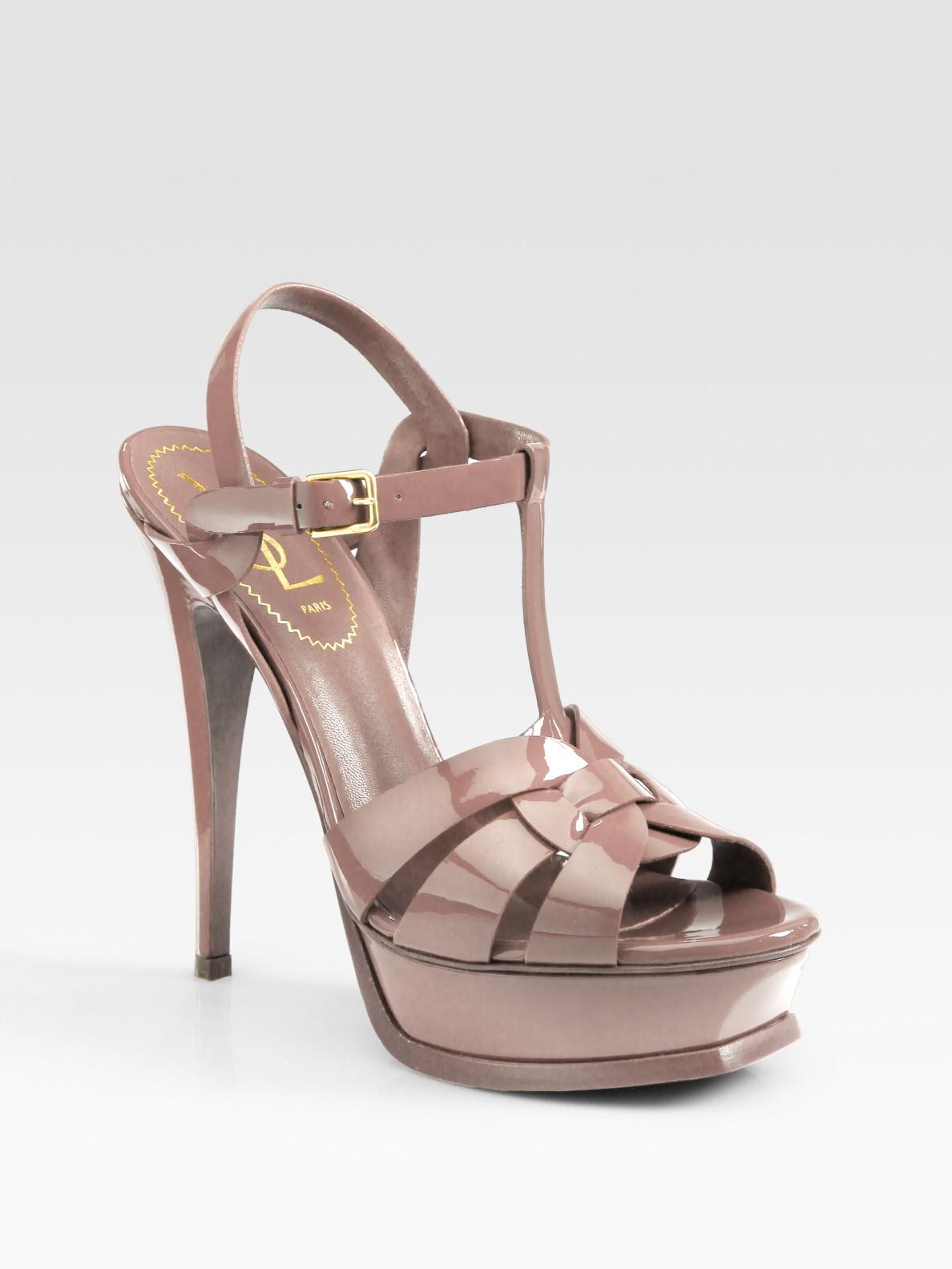 d5b6856296ebb Lyst - Saint Laurent Ysl Tribute Patent Leather Platform Sandals in Pink