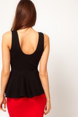 Asos Collection Top with Extreme Peplum in Scoop Neck in Black - Lyst