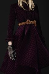 Burberry Prorsum Velvet Quilted Blanket Coat in Purple - Lyst