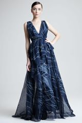Carolina Herrera Hand Painted Silk Organza Gown - Lyst