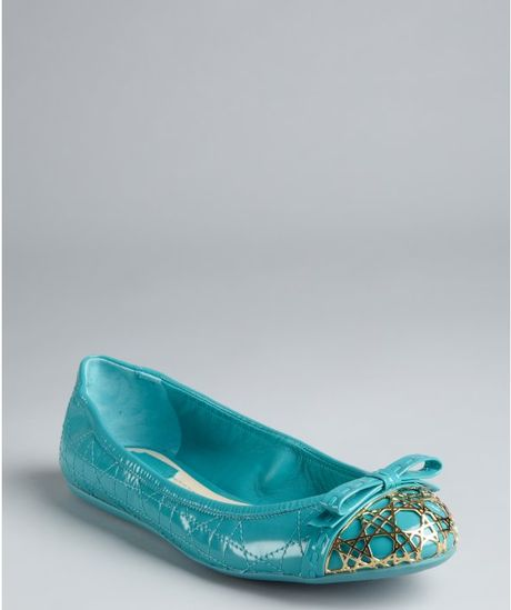 Dior Aquamarine Quilted Cannage Patent Bow Detail Ballet Flats in Blue (aquamarine) - Lyst