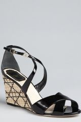 Dior Black Patent Leather Lilas Cannage Straw Wedges - Lyst
