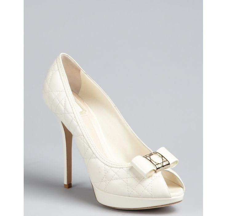 Dior Off White Cannage Leather Patent Bow Peep Toe Pumps in White ...