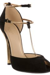 Gucci Tbar Pump in Black - Lyst