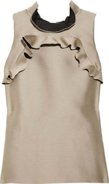Lanvin Ruffled Duchess Satin Top in Gold (champagne) - Lyst