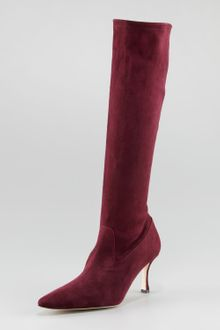 Manolo Blahnik Pascalare Tall Stretch Suede Boot - Lyst