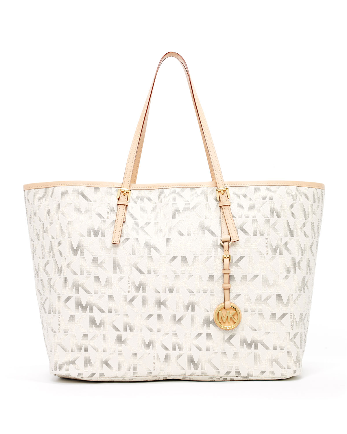 Lyst - MICHAEL Michael Kors Jet Set Logo Medium Travel Tote Vanilla ... deb6f76980