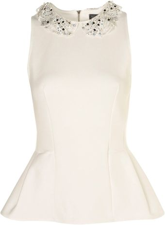 Topshop Embellished Collar Peplum Top - Lyst