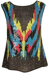 Topshop Premium Calypso Sequin Shell Top in Multicolor (multi) - Lyst