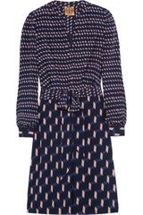 Tory Burch Judi Contrast Print Silk Dress - Lyst