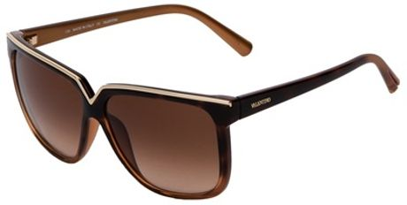 Valentino Square Frame Sunglasses in Brown - Lyst