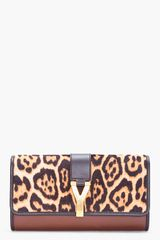 Yves Saint Laurent Large Chyc Leopard Clutch - Lyst