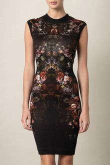 Alexander McQueen Engineered Knit Floralprint Dress - Lyst