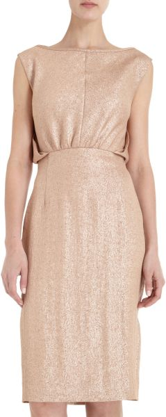 Barbara Tfank Lamé Dress in Pink (blush) - Lyst