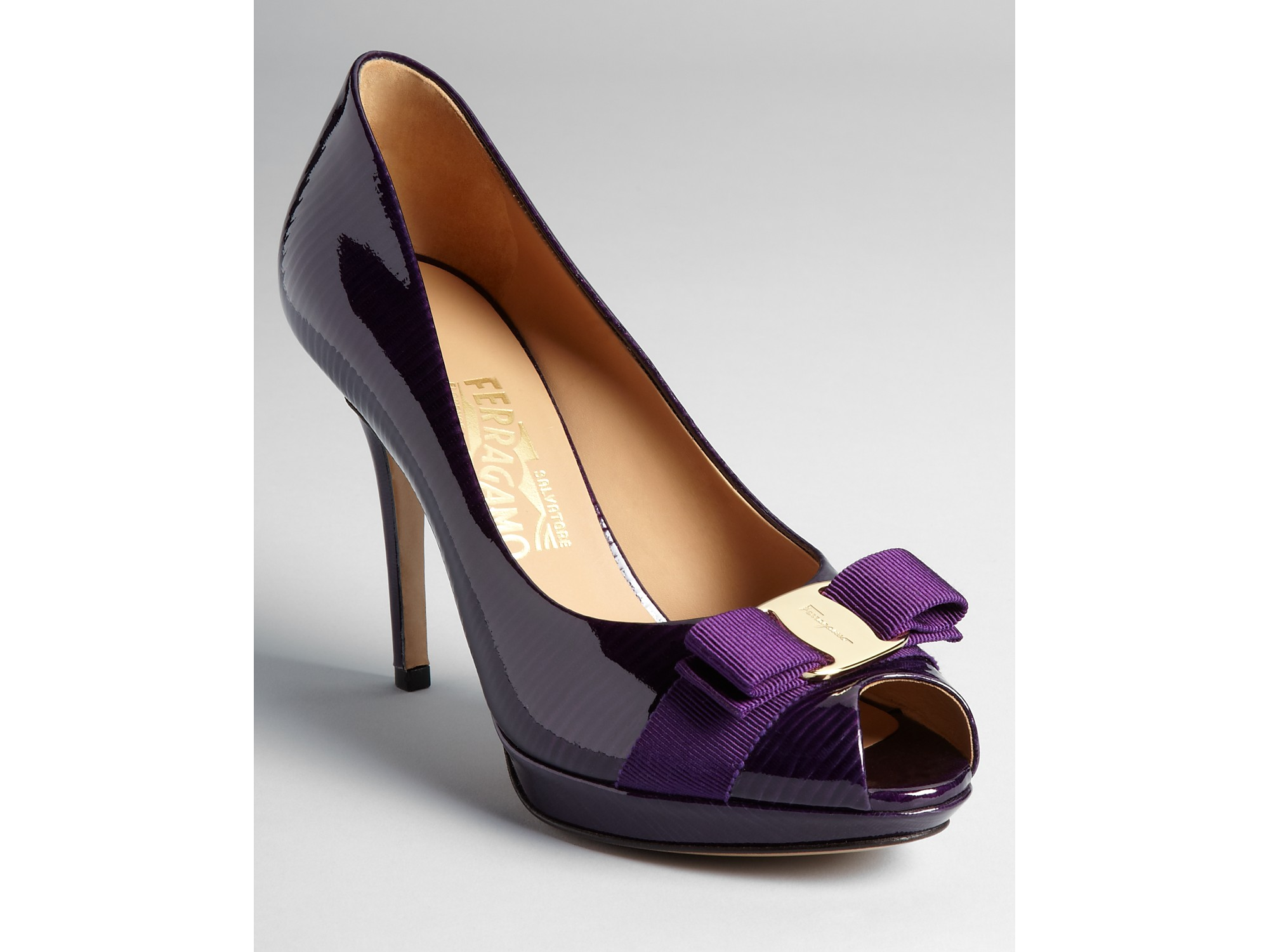 3e43f51a80c2 Lyst - Ferragamo Pumps Talia High Heel Peep Toe Platform in Purple