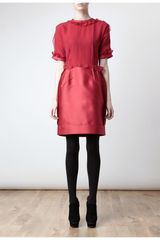 Lanvin Inverted Silk Dress in Red - Lyst