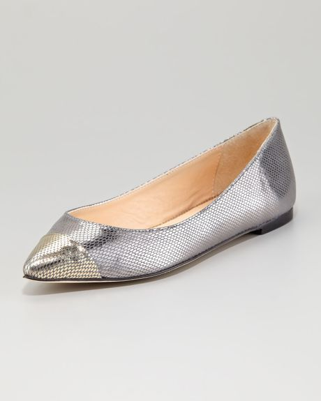 Loeffler Randall Natalie Metallic Leather Ballet Flat in Silver (gold) - Lyst
