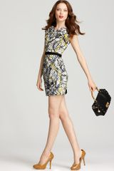 Milly Sheath Dress Tuck Neck Splatter Print - Lyst