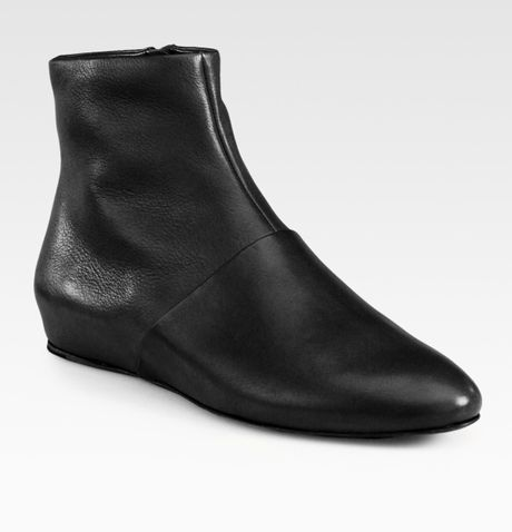 See By Chloé Flat Leather Ankle Boots in Black - Lyst