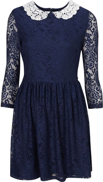 Topshop Lace Peter Pan Dress in Blue (navy blue) - Lyst