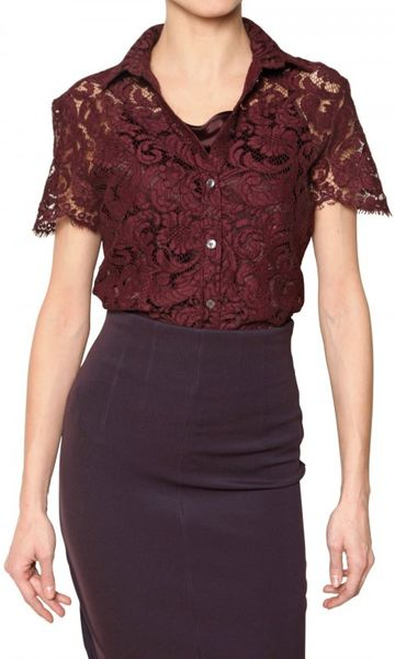 Burberry Lace Stretch Top in Floral (bordeaux)