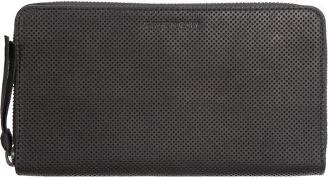 Givenchy Perforated Zip Around Wallet in Black for Men - Lyst