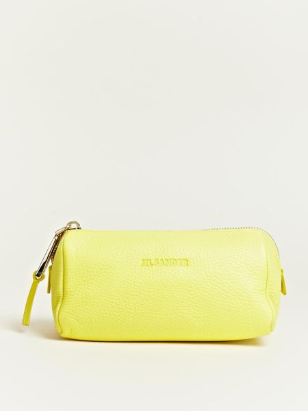 Jil Sander Jil Sander Womens Grain Leather Beauty Case in Yellow - Lyst