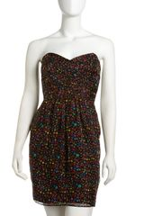 Shoshanna Strapless Dotprint Dress - Lyst