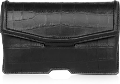 Alexander Wang Croceffect Leather Clutch in Black - Lyst