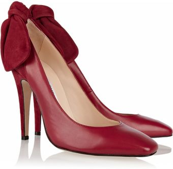 Carven Bowdetailed Leather and Suede Pumps - Lyst