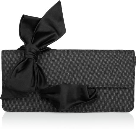 Christian Louboutin Elisa Bow Tweed Clutch in Black (gray) - Lyst