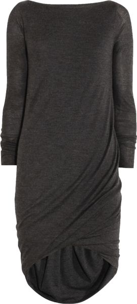 Donna Karan New York Ruched Cashmere Mini Dress in Gray (charcoal) - Lyst