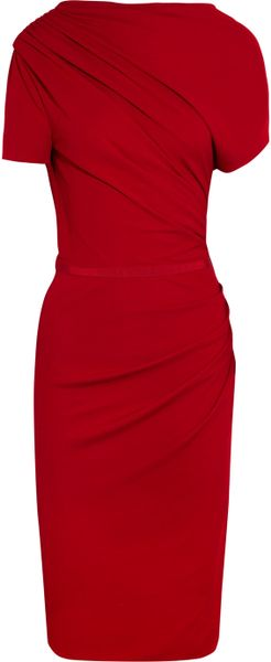Giambattista Valli Asymmetric Ruched Crepejersey Dress in Red - Lyst