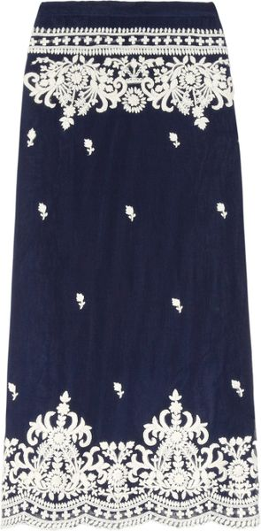 Leaves Of Grass Aria Embroidered Silkchiffon Maxi Skirt in Blue (navy) - Lyst