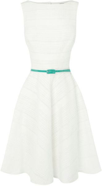 Oasis Cotton Stripe Fit and Flare Dr in White - Lyst