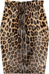 Valentino Leopard Print Calf Hair Pencil Skirt - Lyst