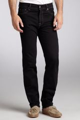 7 For All Mankind Black Stretch Denim Straight Leg Button Fly Jeans - Lyst