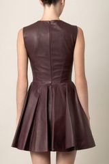 Alexander Mcqueen Leather Dress in Brown (plum) - Lyst